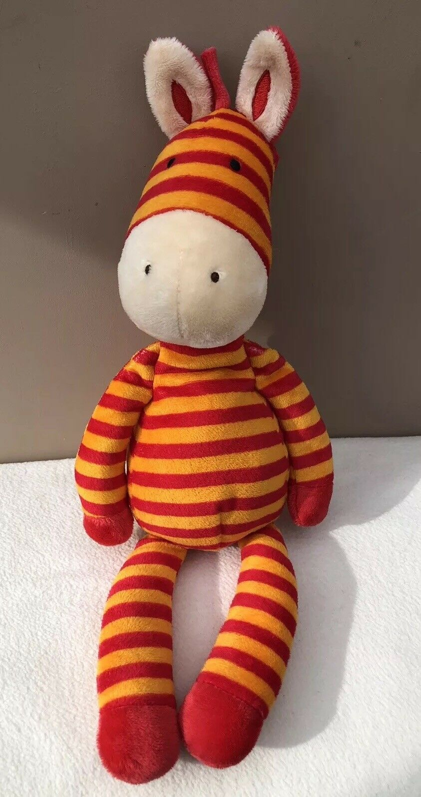 JellyCat demenziale Zebra Soother Trapunta Baby soft baby toy Arancione Rosso a Righe