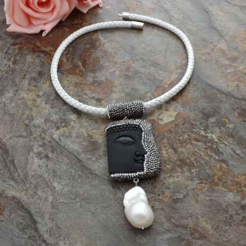 White Keshi Pearl Black Jasper Buddha Pendant White Leather Necklace