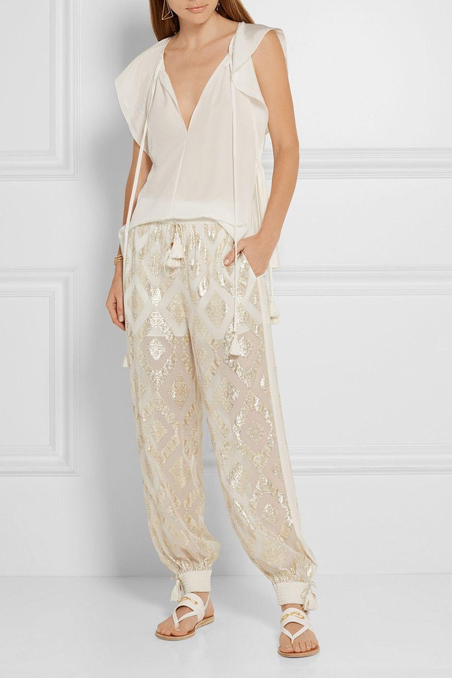 New Rachel Zoe Metallic Fil Coup Silk Blend Wide Leg Pants Ivory Size XS  295