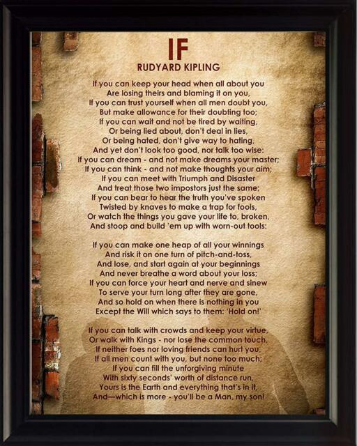 If Poem By Rudyard Kipling Framed Poster Picture Print Motivational Wall Art
