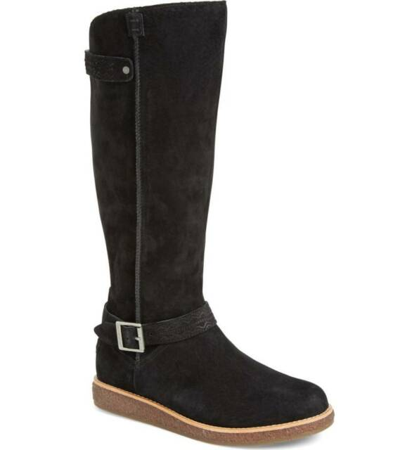 4caa2c94c9 NEW UGG Womens Gellar Black Water Resistant Suede Equestrian Tall Boot Size  6.5
