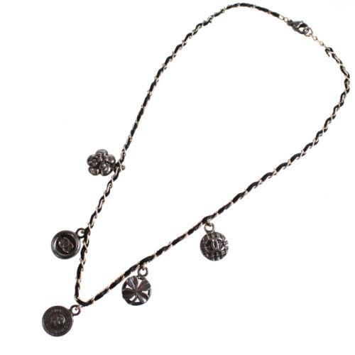 CHANEL CC Black Silver Chain Necklace Pendant Vint