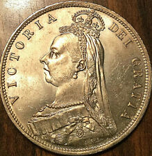 1887 GREAT BRITAIN SILVER VICTORIA HALF CROWN - Choice UNC w Strong Luster