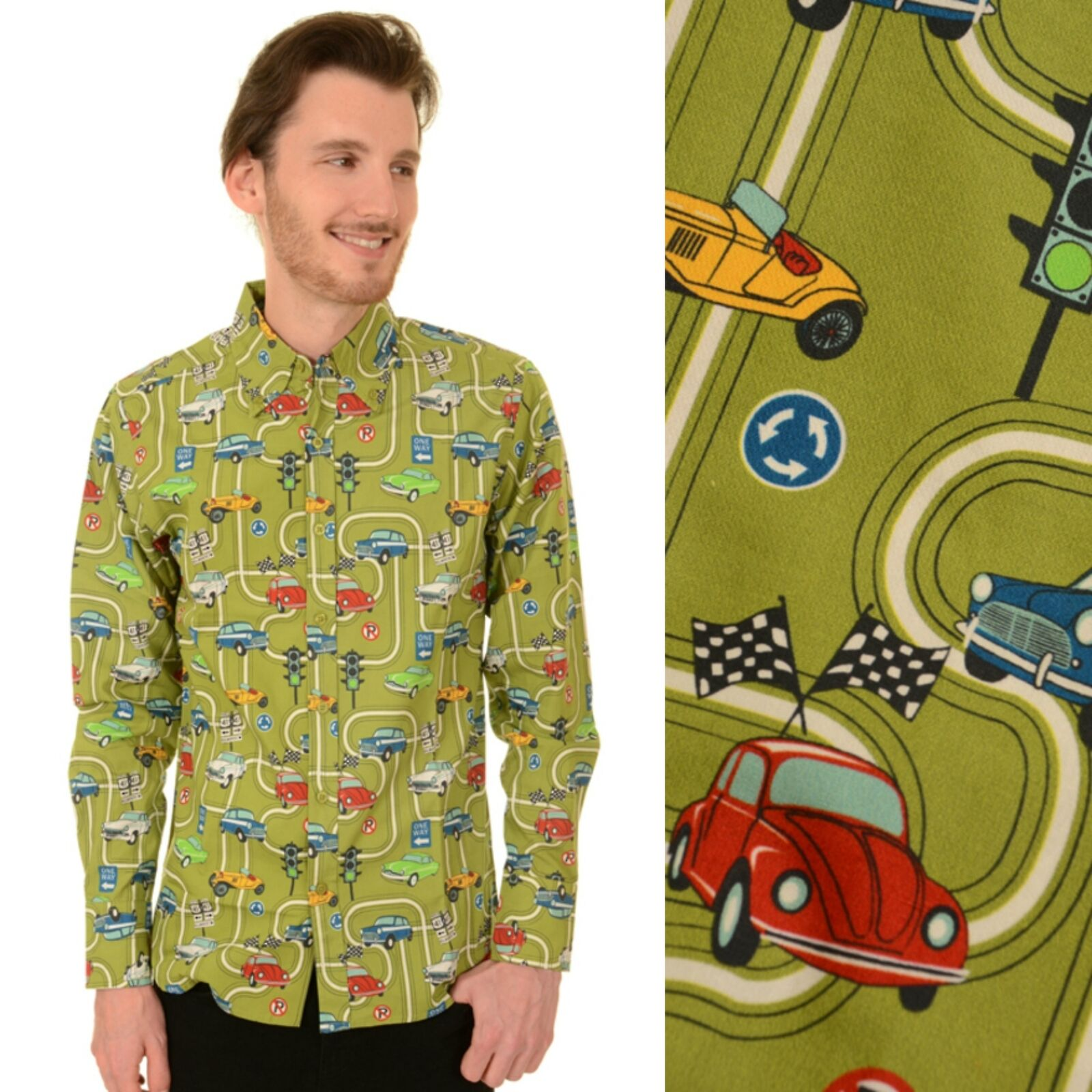 60s Car Print Shirt by Run and Fly Retro Mod S M L XL XXL BNWT NEW
