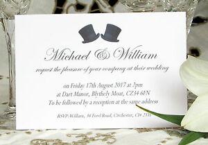 Partecipazioni Matrimonio Gay.Personalised Wedding Inviti Cappelli A Cilindro Matrimonio Gay