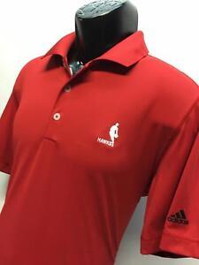 H96-Men-Adidas-Golf-NBA-Puremotion-Atlanta-Hawks-Red-Polo-Shirt-Size-Medium-M