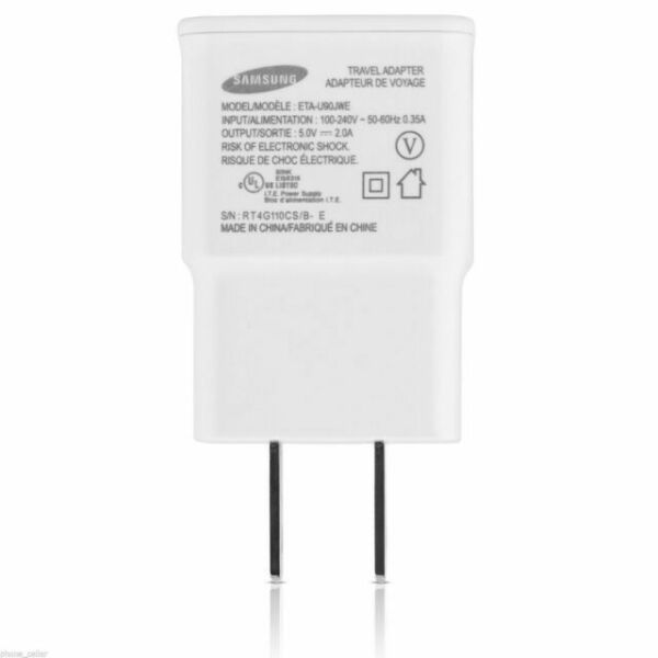 White Samsung OEM 2 Amp Adapter 5-Feet Micro USB Data Sync Charging Cables for Galaxy S2//S3//S4//Active//Note 1//2 Non-Retail Packaging