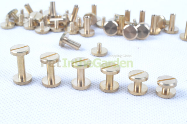 20x Durable Luggage Leather Brass Belt Wallet Craft Solid Screw Nail Rivet