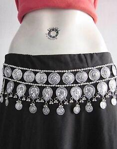SincèRe Vintage Pièce Argent Médaillon Tribales Ats Belly Dance Jupe Accessoire Robe-afficher Le Titre D'origine