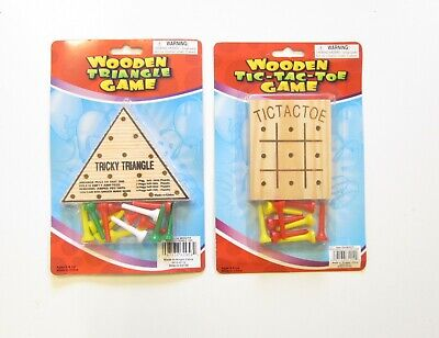 1 NEW WOODEN TRICKY TRIANGLE GAME /& 1 WOOD TIC TAC TOE GAME