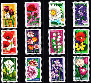 France-2012-Flowers-Complete-Set-of-Stamps-P-Used-S-A