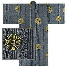 "Japanese Men's 58""L Kimono Yukata Cotton Black/Gold Ancient Coins/ Made in Japan"