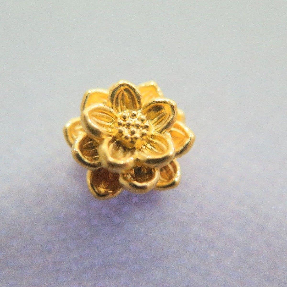Puro 24k oro Giallo 3d 3d 3d Bless Fiore di Loto Perlina Ciondolo (1pcs Solo 85fd8a
