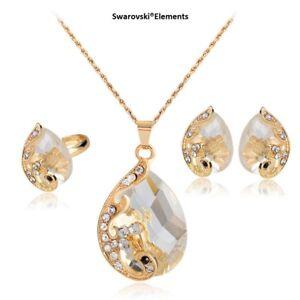 boucles-d-039-oreille-collier-bague-Swarovski-Elements-pendentif-ovale-transparent