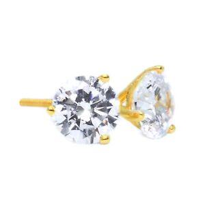 2-Ct-Round-Cut-Martini-Diamond-Earrings-Solid-14k-Yellow-Gold-Screw-Back-Studs