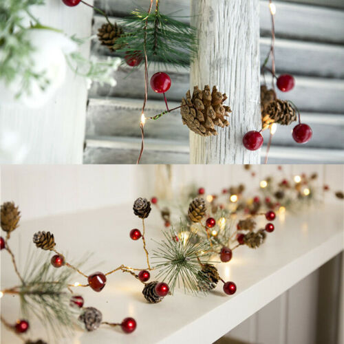 Christmas LED Pine Cone String Lights Xmas Tree Decoration Garland Light Party Home, Furniture & DIY