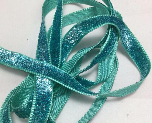 French VELVET Ribbon Lurex Metallic AQUAMARINE by the yard 5mm 3//8 inch