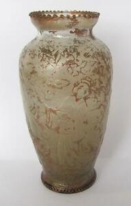 19C-ANTIQUE-CHINESE-BRONZE-PATINATED-ORNATE-GLASS-VASE-w-WOMEN