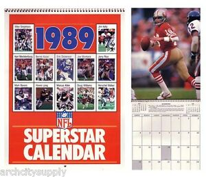 CALENDARS-NFL-FOOTBALL-1989-SUPERSTARS-FREE-SHIPPING-Q-FB89-RP95-C