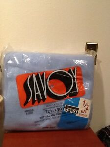 Vintage Savoy Blanket Twin Or Full Blue New In Original Package 100% Polyester