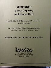 Roto Hoe 550 800 Self Powered Hammermill Chipper Shredder Owner Amp Parts Manual