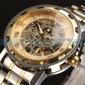 Mens-Classic-Transparent-Steampunk-Skeleton-Mechanical-Man-Stainless-Steel-Watch