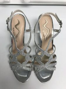 b8d14873e5c Nina Lady s Silver Glitter Dressy Wedge Sandals Formal Occasion Size ...