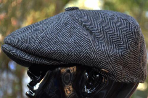 Mens Classic Herringbone Newsboy Cap,100/% Wool Tweed Cabbie Hat Dark Gray Ns2317