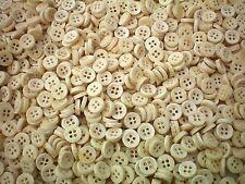 50 x 10mm Wood Effect Natural Cream 4H Buttons Shirt Craft Baby Buttons B5T&D X