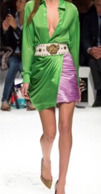 2a9bc32088 NWT Fausto Puglisi Lime Green Lavender Silk Draped Skirt sz 40 IT (0 XS)