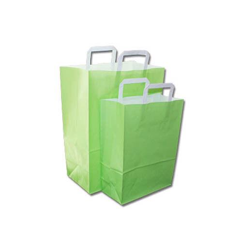 50 Papier - Tragetaschen, grün, 26+12x35cm, Papiertragetaschen