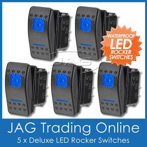 5 x 12V~24V BLUE LED CARLING/ARB/NARVA-STYLE ROCKER SWITCH DUAL LIGHT - Boat/4x4