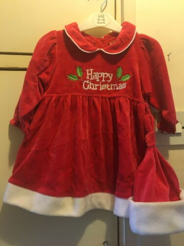 0-3 MONTHS BABY GIRL CHRISTMAS SANTA COSTUME DRESS WITH HAT SET