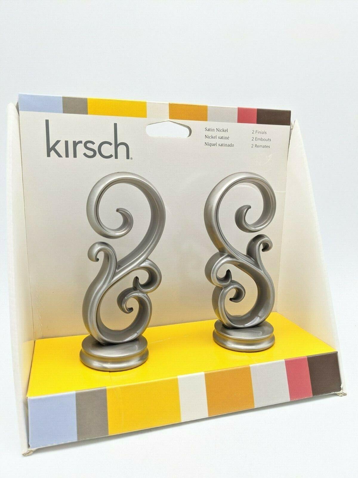 Kirsch Scroll Style Satin Nickel Metal Finials 2 Piece Set Curtain Rod Ends For Sale Online Ebay