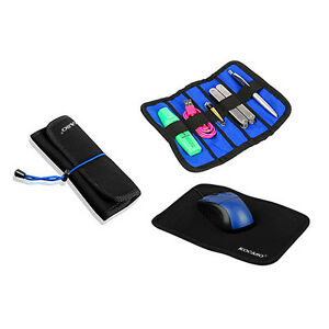 Portable-PU-Leather-Travel-Mouse-Pad-Organizer-2-in-1-Combo-Case-Black