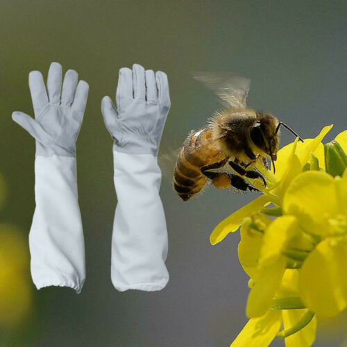 2PCS Beekeeping Protective Gloves with Vented Long Sleeves-Grey and White bee