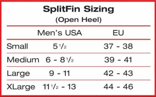 Atomic Aquatics Split Fins Fin Open Heel  All Sizes for Scuba Snorkeling Blue