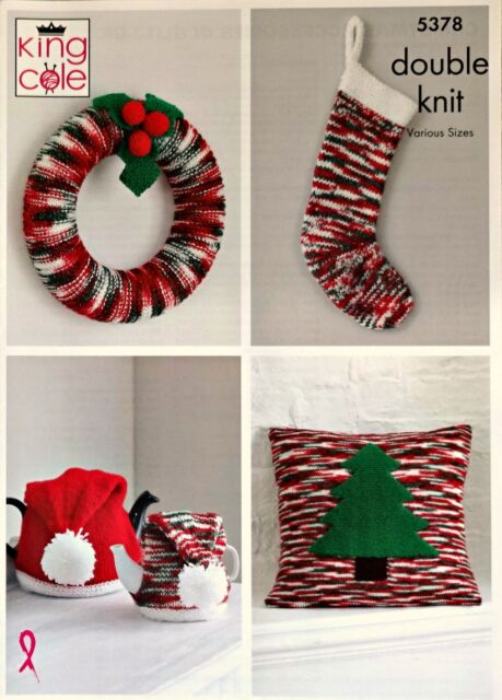 Christmas Wreath Cushion Stocking Tea Cosy Toy Knitting Pattern King