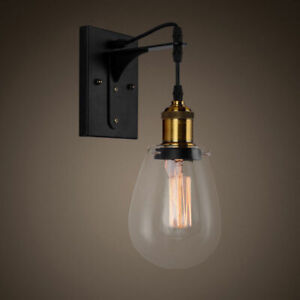the latest 72e74 6e8a5 Details about Industrial Style Teardrop Shaped Clear Glass Black Indoor  Wall Light Bath Sconce