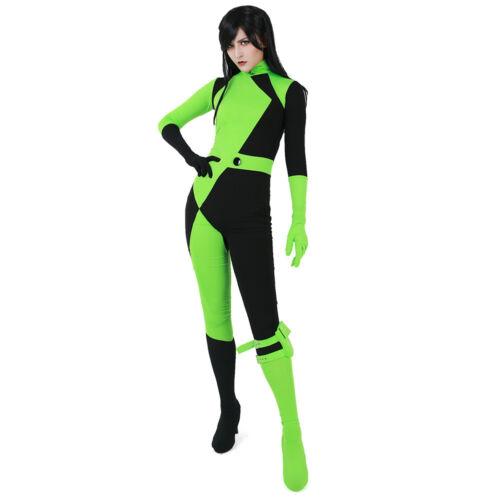 Kim Possible Shego Jumpsuit Cosplay Costume Women Halloween