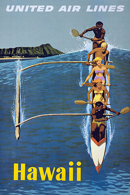TX36 Vintage  HAWAII  Air Lines Travel Poster Re-Print A1/A2/A3