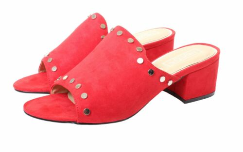Womens Low Heel Peep Toe Mules Open Back Slip On Sandals Red Black Shoes Studs
