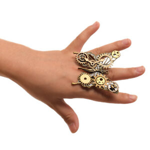 Vintage-Victorian-Steampunk-Bronze-Butterfly-Ring-Women-039-s-Gothic-Adjustable-Ring