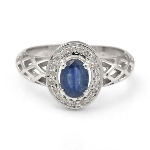 Sapphire Gemstone Halo Ring Jewelry Details about  /925 Sterling Silver Natural Ruby,Emerald