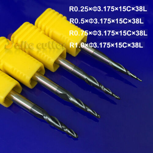 """4 pcs R0.25/&0.5/&0.75/&1.0mm with 1//8/"""" 3.175 shank Tapered Ball Nose End Mill"""