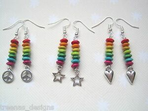 RAINBOW-STACK-WOOD-BEAD-SP-Charm-Earrings-Choose-STAR-PEACE-SIGN-HEART-Boho-Surf