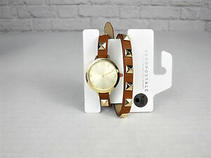 New-Aeropostale-faux-leather-studded-wrap-watch-navy-or-cognac-your-choice
