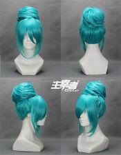 Short Vocaloid miku diva Blue Anime Cosplay Costume Wig +Free CAP