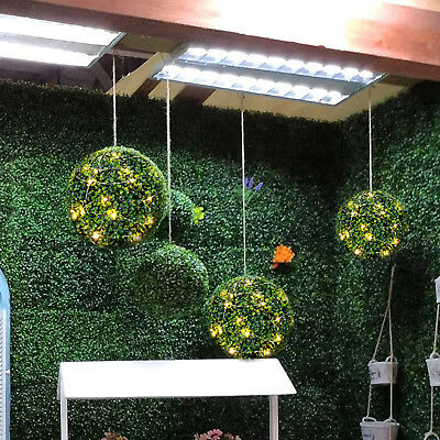 LED String Light Hanging Decor 10//15//25//30//35//40cm Artifical Green Grass Ball