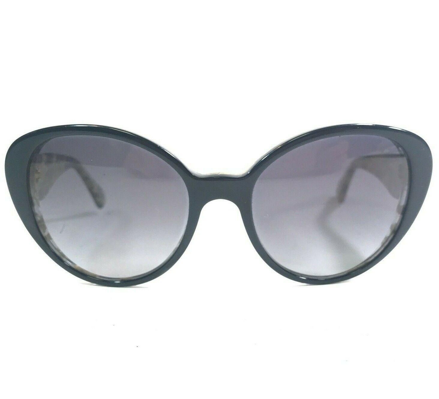 Dolce & Gabbana Sunglasses DG4198 2744/T3 Black Cat Eye Gold Frames Purple Lens